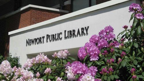 Library Sign Flowers Azaleas